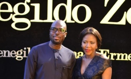 Too much money… Tunde Folawiyo's wife, Reni, steps out in N11million Gucci Velvet-trimmed embellished tiered silk-chiffon gown.