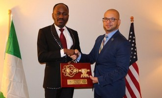 After the storm! Apostle Suleman conferred Non-Resident Honorary Award in America