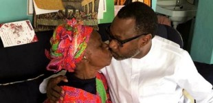 A Billionaire's Secret Deity…See Femi Otedola's Priceless Kiss On Mother's Lips