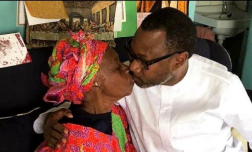 A Billionaire's Secret Deity…See Femi Otedola'sPriceless Kiss On Mother'sLips