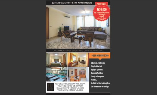 Promo! Promo!! Promo!!!…12 Temple Apartments, Ikoyi, Slashes 3-Bedroom Prices To N70k Per Night till the 30th of April