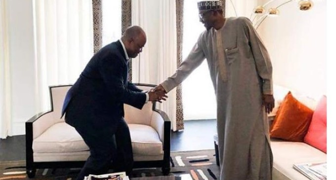 Defection: Akpabio meets Buhari in London