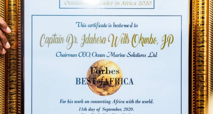 Breaking: The Stamp of His Honour… FORBES America Honours Capt. Hosa Okunbo