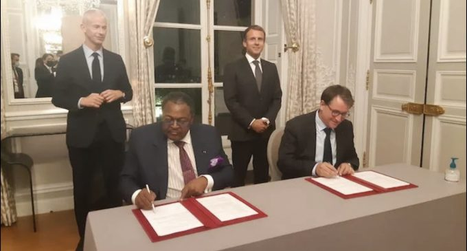 Breaking: Moment of Pride As Billionaire Extraordinaire, Mike Adenuga, Partners French Company, EutelSat in Multibillion dollar deal with French President, Emmanuel Macron, as Witness